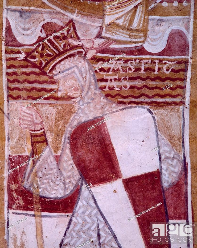 Stock Photo: Soldier, detail from a fresco of the Arch of the Crusaders, Saint Gilles Chapel, Montoire-sur-le-Loir, France. Crusades, France, 12th century.