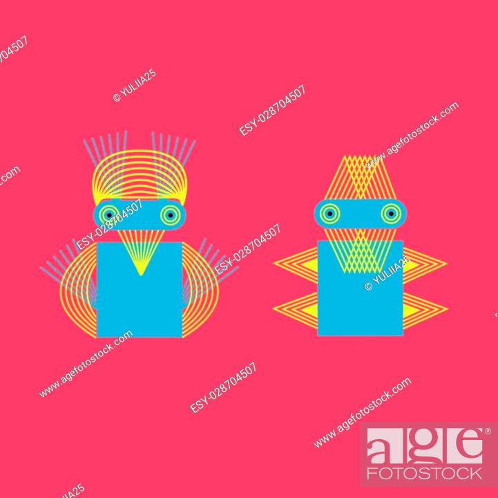 Stock Vector: Abstract geometric monster. Creative person of line.