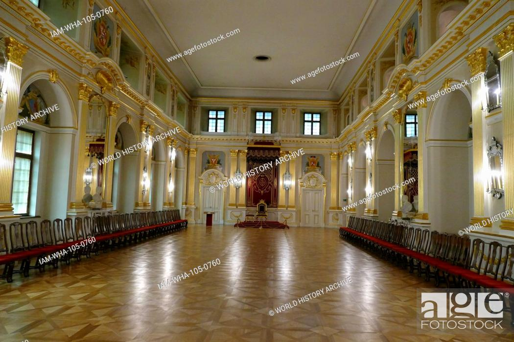 Stock Photo: Sala Senatorska (The Senate Chamber) in the Old Royal Palace, Warsaw, Poland. It was here that the Upper House of the Polish Parliament used to sit in the years.