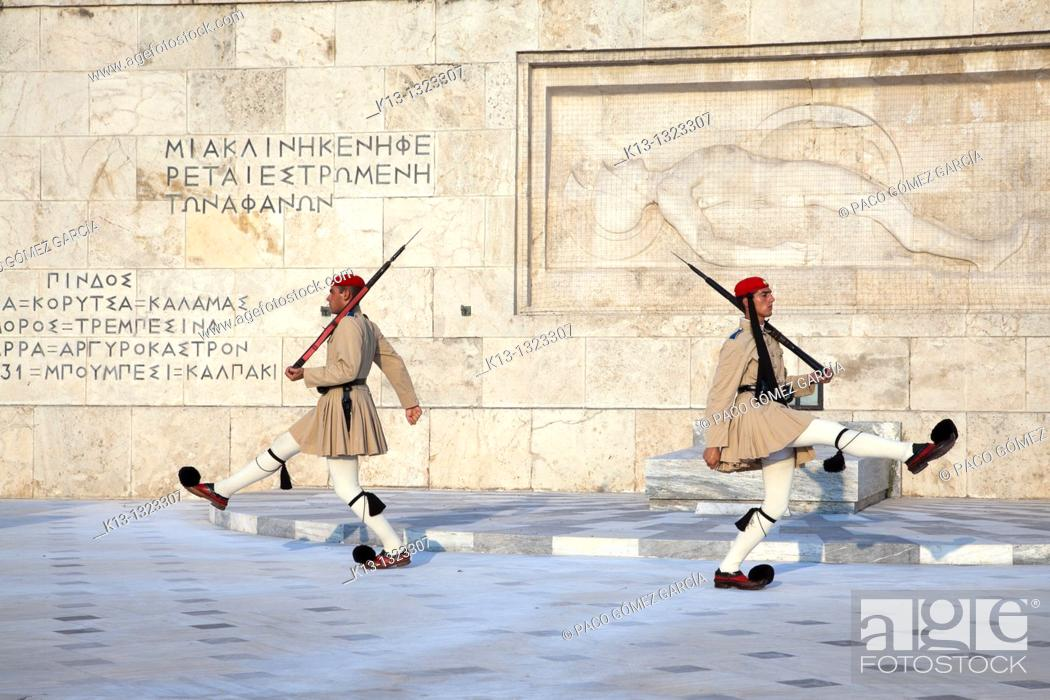 Stock Photo: Soldiers Evzones on guard in the Monument to the Unknown Soldier and Parliament Royal Palace  Syntagma Square  Athens  Greece.