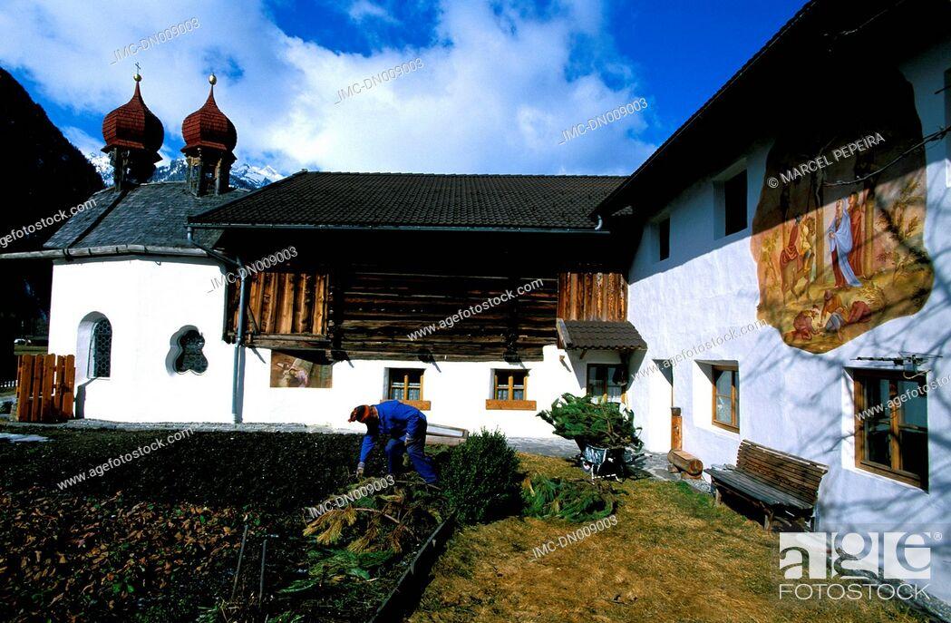 Stock Photo: Austria, Tyrol, Langenfeld, native house and chapel of minister Franz Senn.