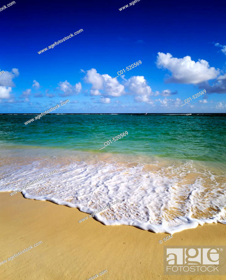Stock Photo: Tropical beach sea and clouds. Guadeloupe. French West Indies.