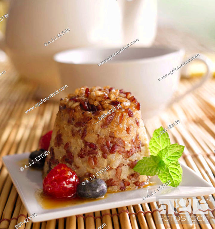 Stock Photo: Rice with berries dessert.