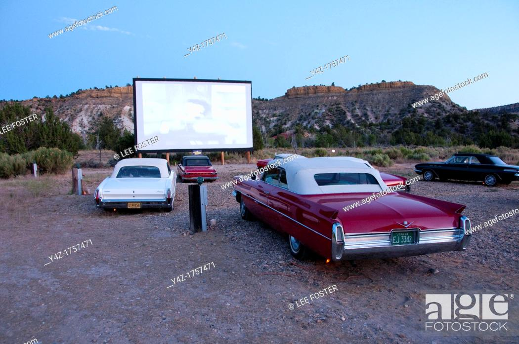 Stock Photo: USA, Utah, drive in classic 1940s-60s movies and historic candy and vintage convertibles are available at the Shooting Star Drive-In in Escalante.