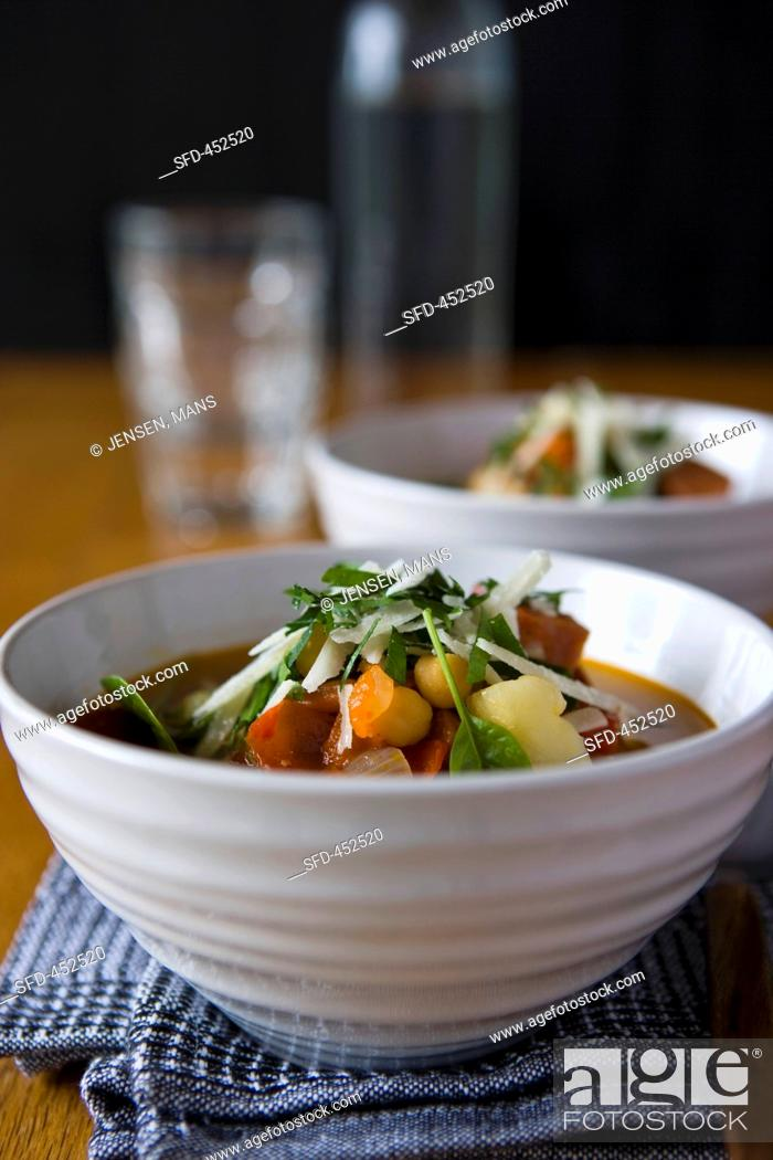 Stock Photo: Potato soup with spinach.