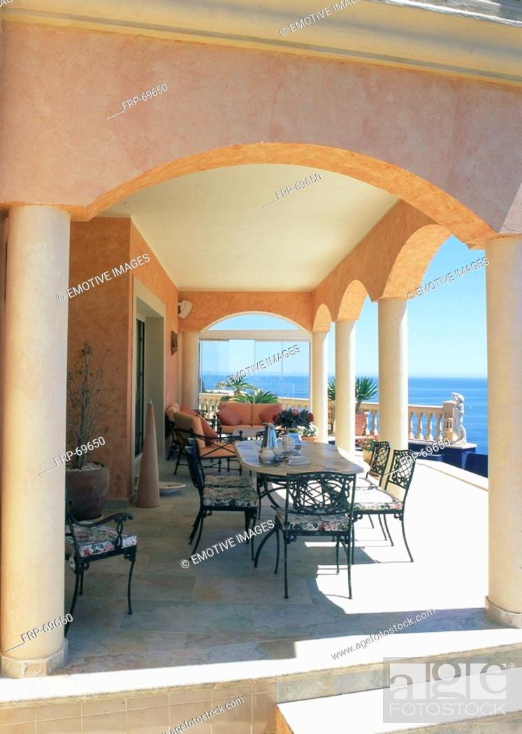 Stock Photo: Terrace with seeside view.