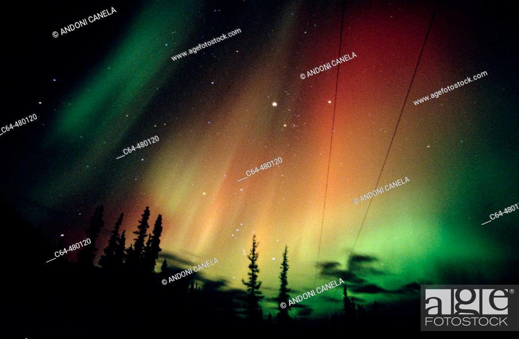 Stock Photo: Aurora Borealis or Nothern Lights. Yukon territory. Canada.