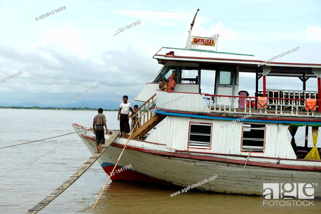 Stock Photo: Along the Irrawady river  Sagaing Division  Burma  Republic of the Union of Myanmar.