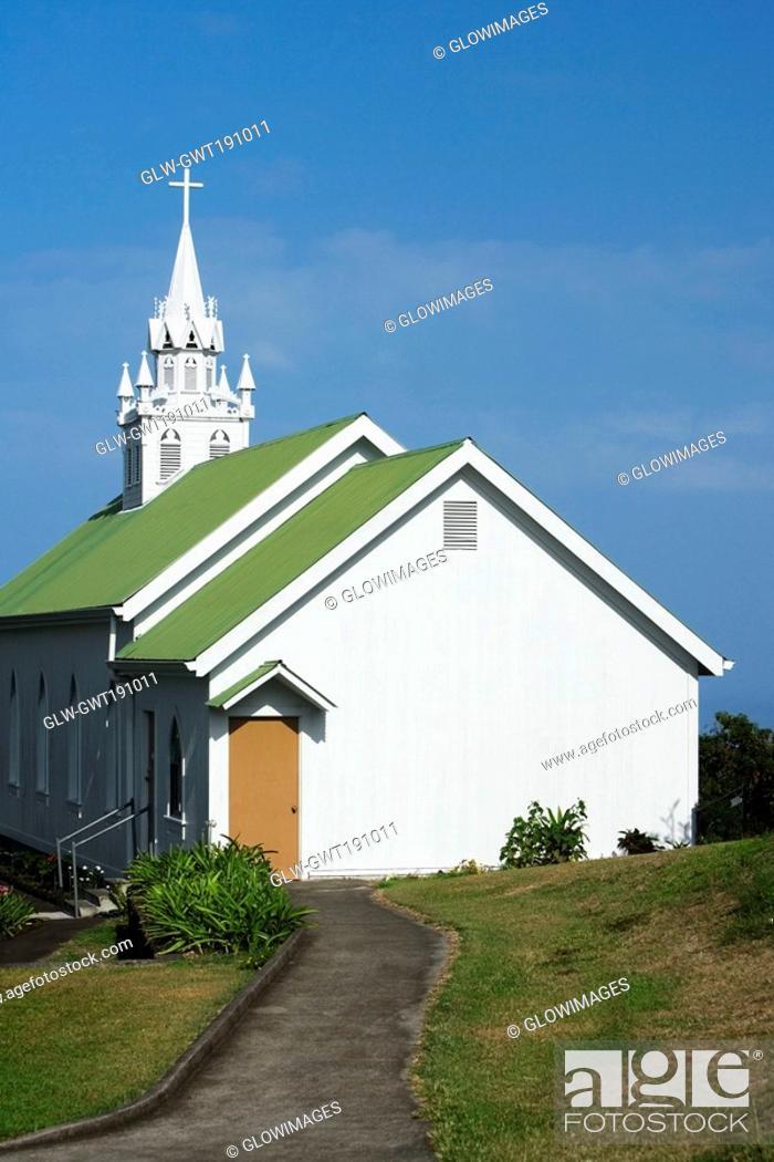 Stock Photo: Walkway leading towards a church, St  Benedict's Catholic Church, Honaunau, Hawaii Islands, USA.