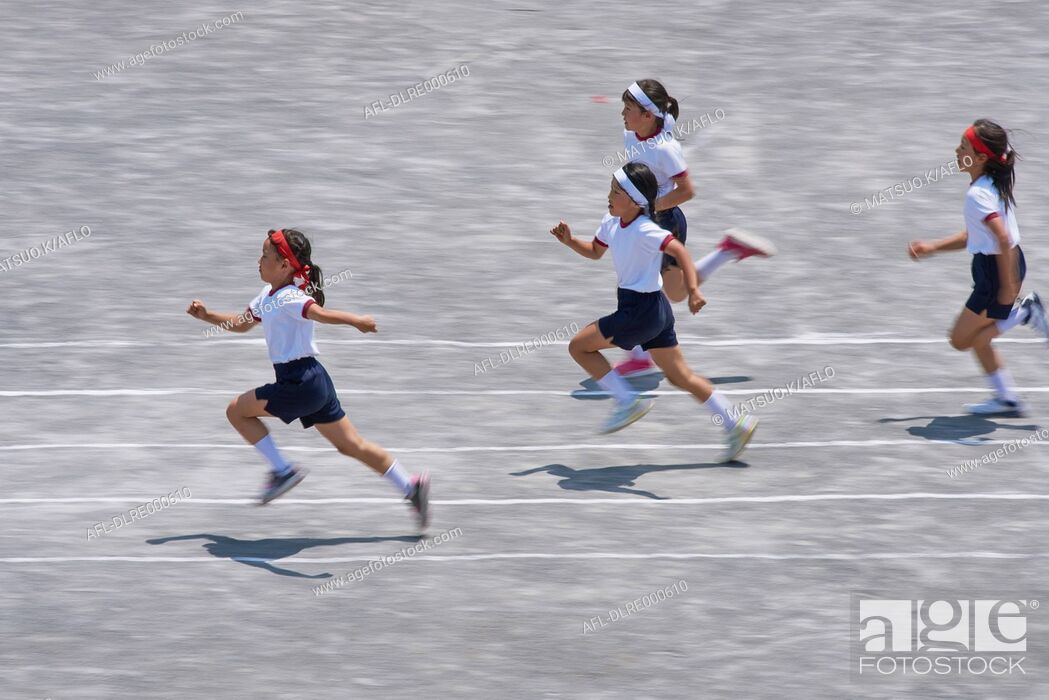 Stock Photo: Japanese kids during school sports day.