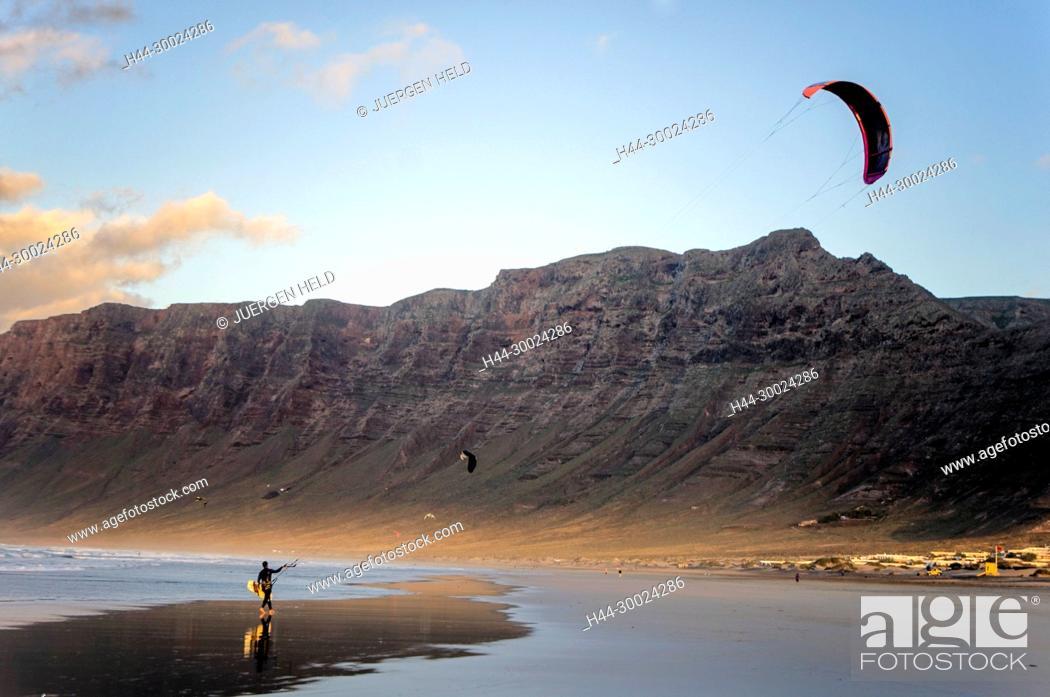 Stock Photo: Famara Beach, Kite Surfer, Lanzarote, Canary Islands, Spain.