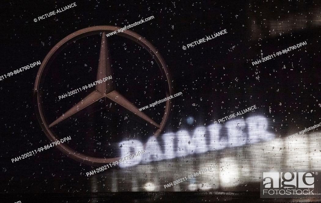 Stock Photo: dpatop - 11 February 2020, Baden-Wuerttemberg, Stuttgart: The logo of the Daimler AG can be seen at the corporate headquarters.