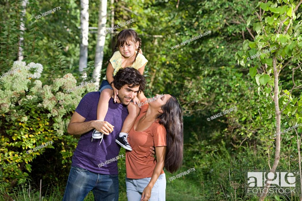 Stock Photo: Family together in woods.