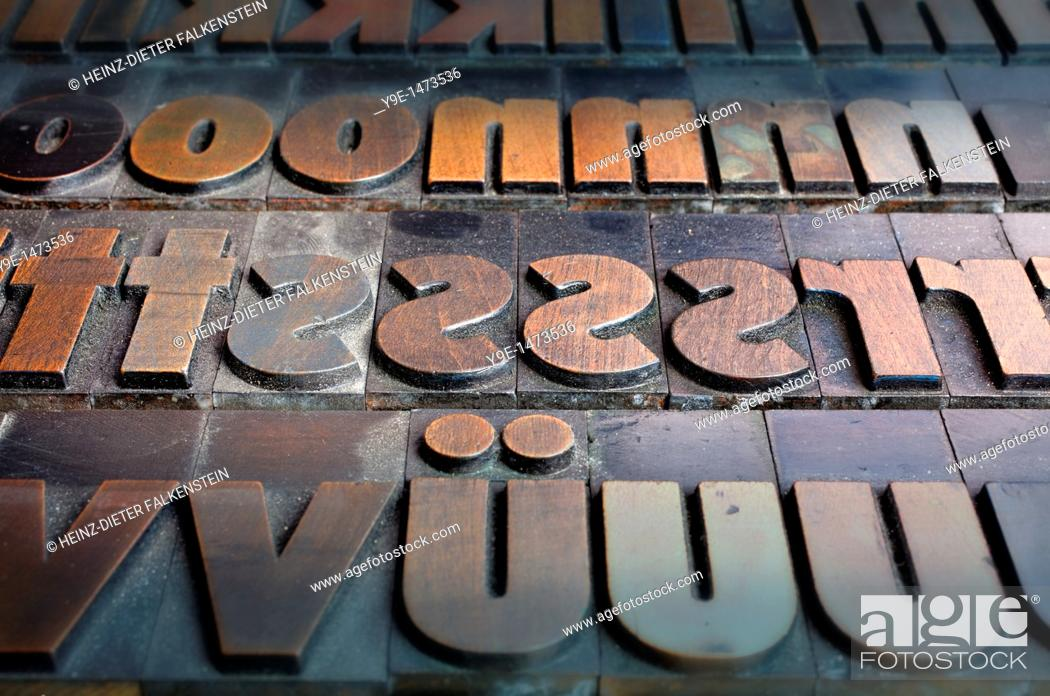 Stock Photo: Old wooden letters for a letterpress printing press, type case with a bold poster font.