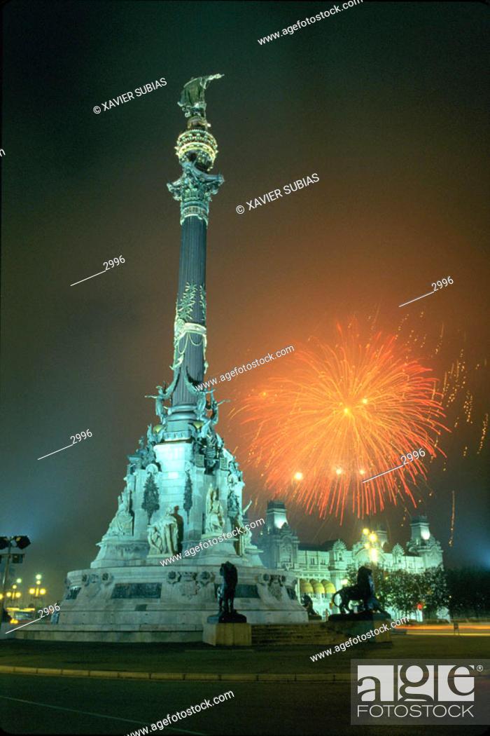 Stock Photo: Christopher Columbus statue. Barcelona. Spain.