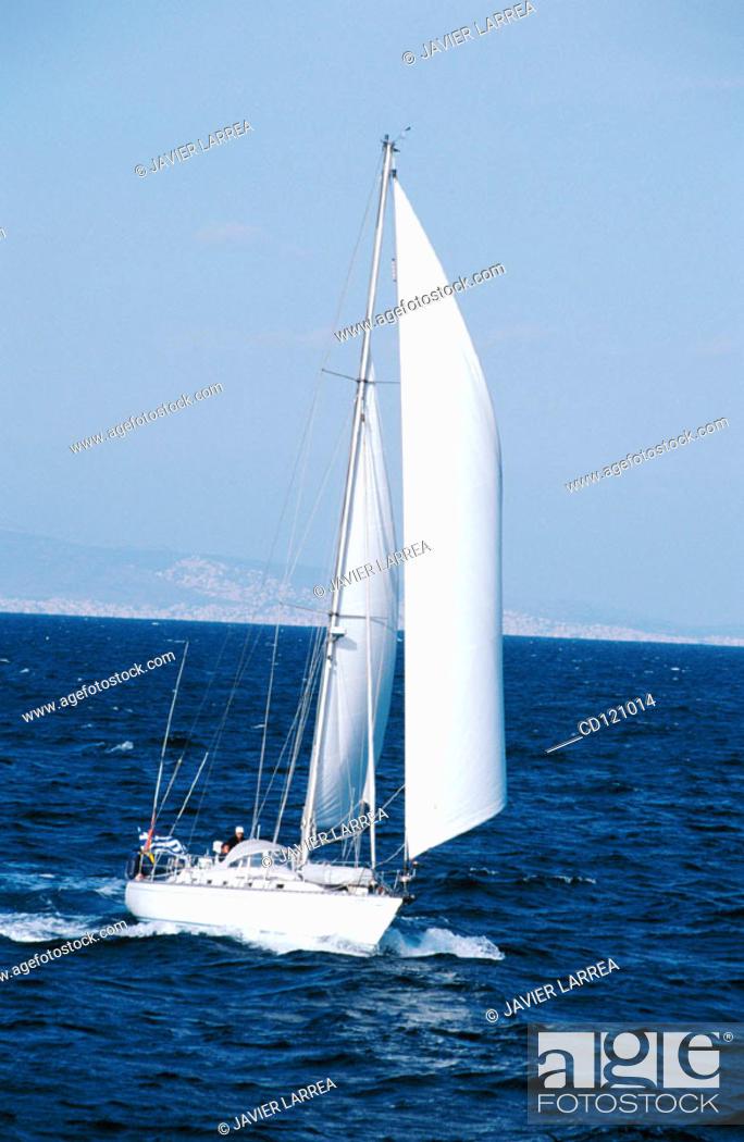 Stock Photo: Sailing ship near Pireas port. Athens. Greece.