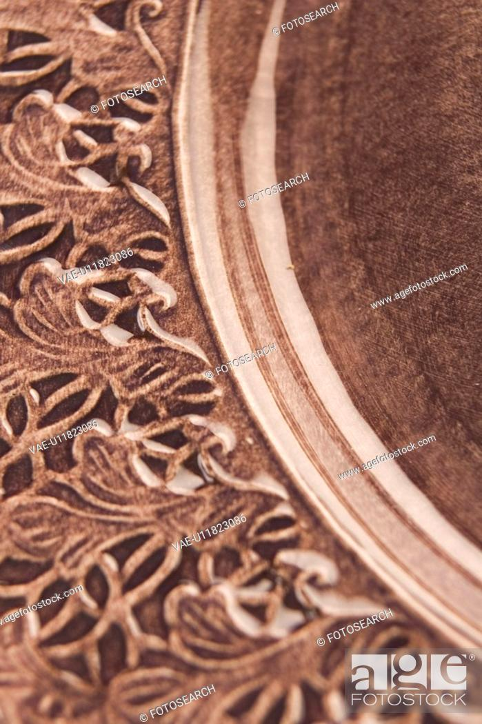 Stock Photo: Carving, Close-Up, Design, Floral Pattern, Full Frame.