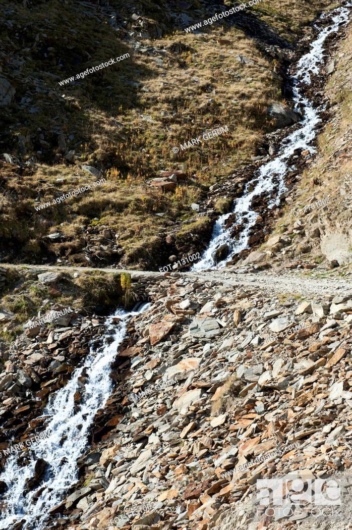 Stock Photo: A hiking trail crossing a stream, Tirol, Austria.