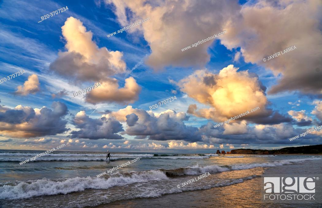 Stock Photo: Sunset, Beach, Hendaye, Aquitaine, Pyrenees Atlantiques, France, Europe.