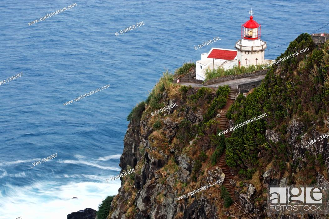 Stock Photo: Lighthouse Ponta do Arnel / Sao Miguel Island / Azores / Portugal.