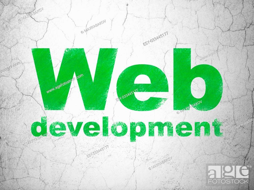 Stock Photo: Web development concept: Green Web Development on textured concrete wall background, 3d render.