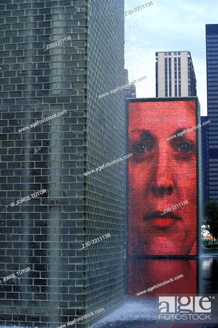 Stock Photo: The Millennium Park, Crown Fountain by Jaume Plensa, Chicago, USA.