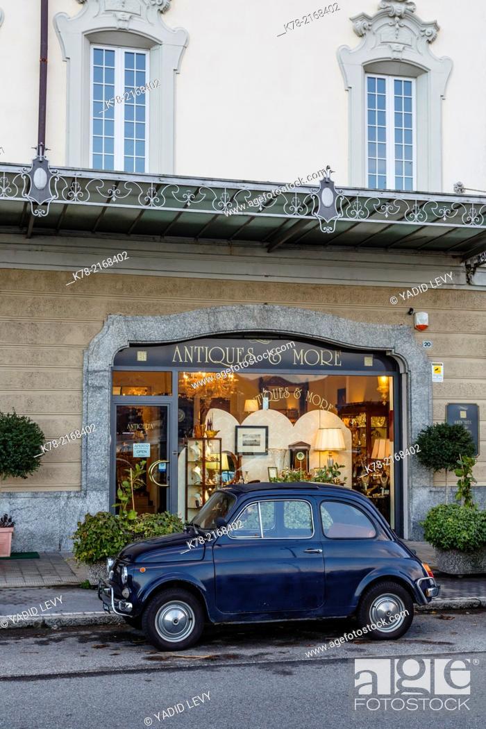 Stock Photo: Antique store facade, Stresa, Lake Maggiore, Piedmont, Italy.