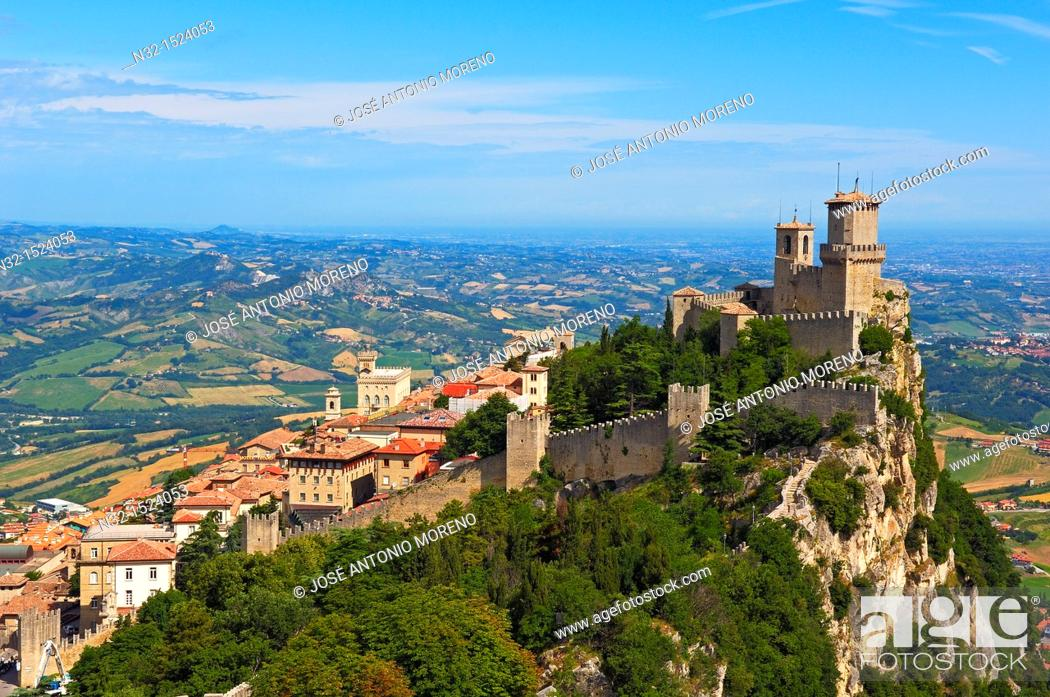 Stock Photo: San Marino  Rocca Guaita, Guaita Tower  Monte Titano  Republic of San Marino  Italy  Europe.