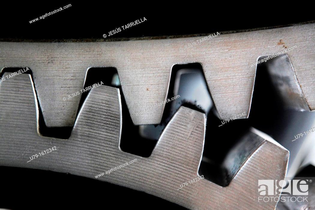 Stock Photo: Detalle de un componente de la máquina 'Cabrestante de Minas' de Lieres, Mining museum, Museum of Industry, El Entrego, Oviedo, Asturias, Spain, Europe.
