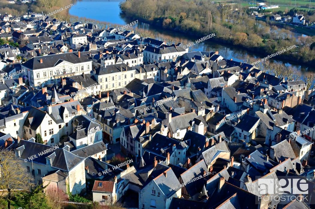 Stock Photo: The slate roofs of the medieval town of Chinon on the banks of the river Vienne.