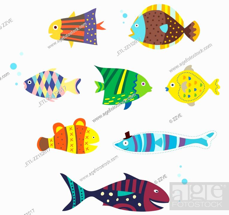 Stock Photo: various fishes.