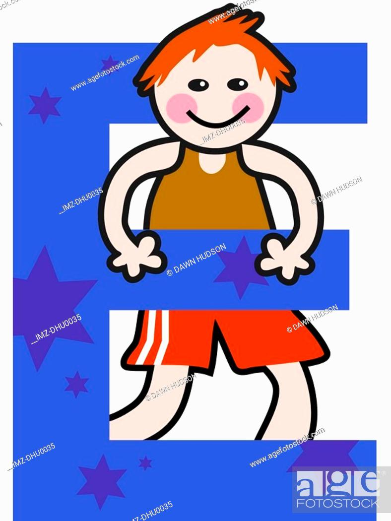 Stock Photo: A kid with the letter E.