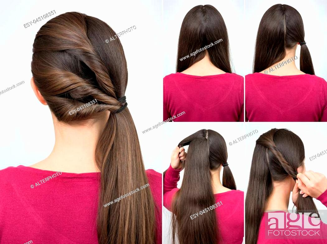 simple hairstyle pony tail with twisted hair tutorial step by step ...