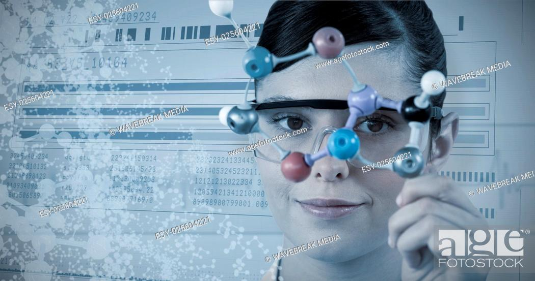 Stock Photo: Composite image of portrait of scientist holding molecular model.