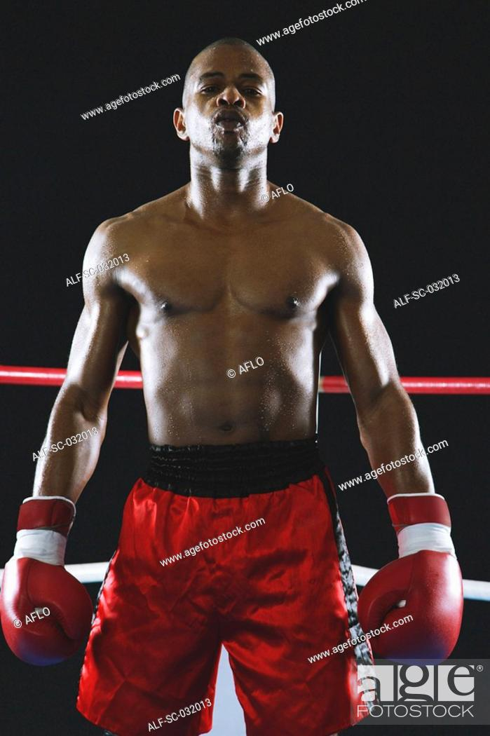 Stock Photo: African boxer wearing Boxing gloves.