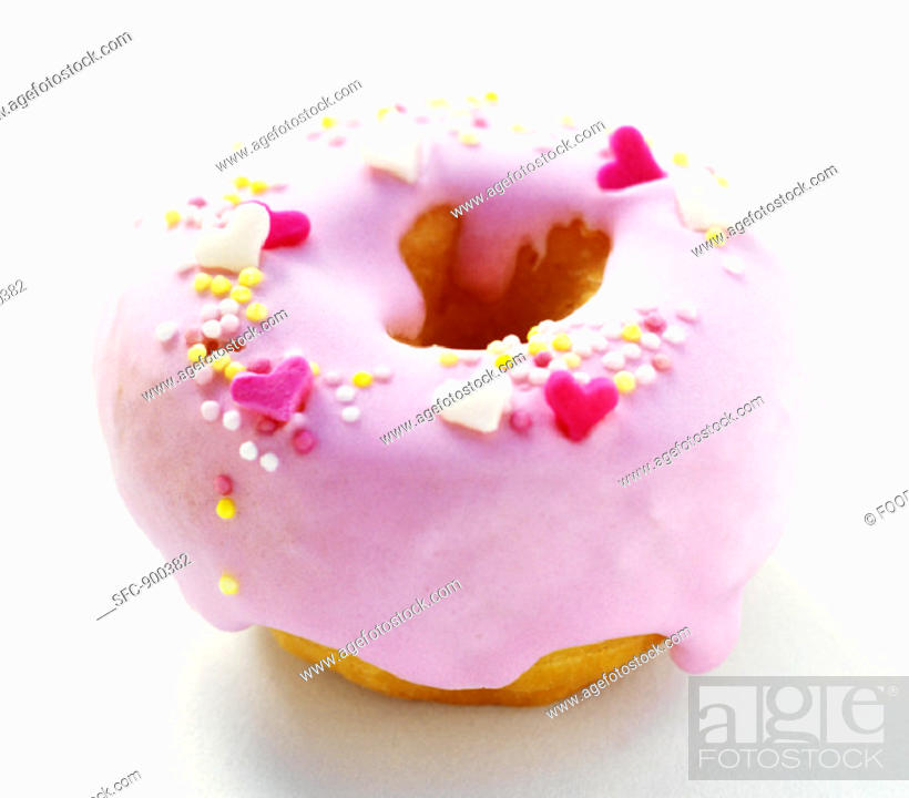 Stock Photo: Strawberry Frosted Donut.