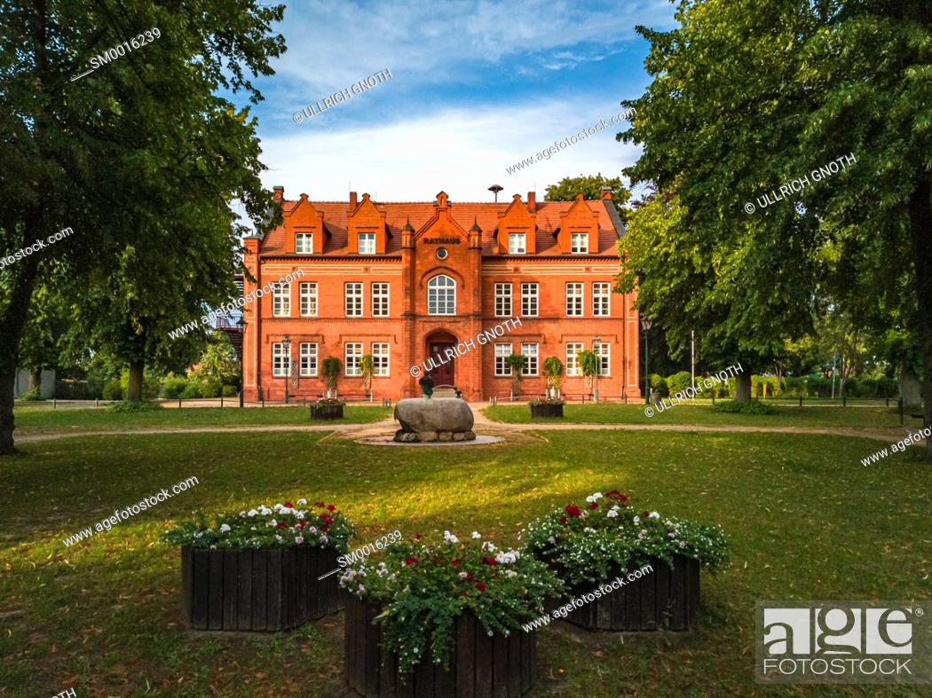 Photo de stock: View of the historic town hall of Dargun, Mecklenburg-Pomerania, Germany, Europe.