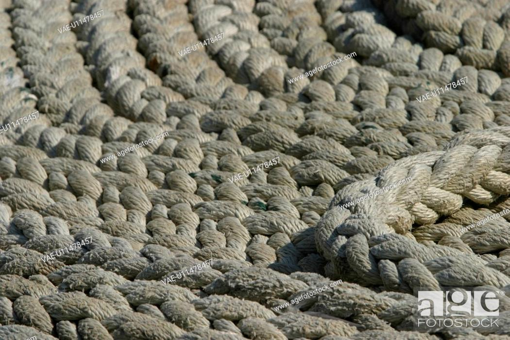 Stock Photo: ropes, dock, industrial, detail, pile, background.