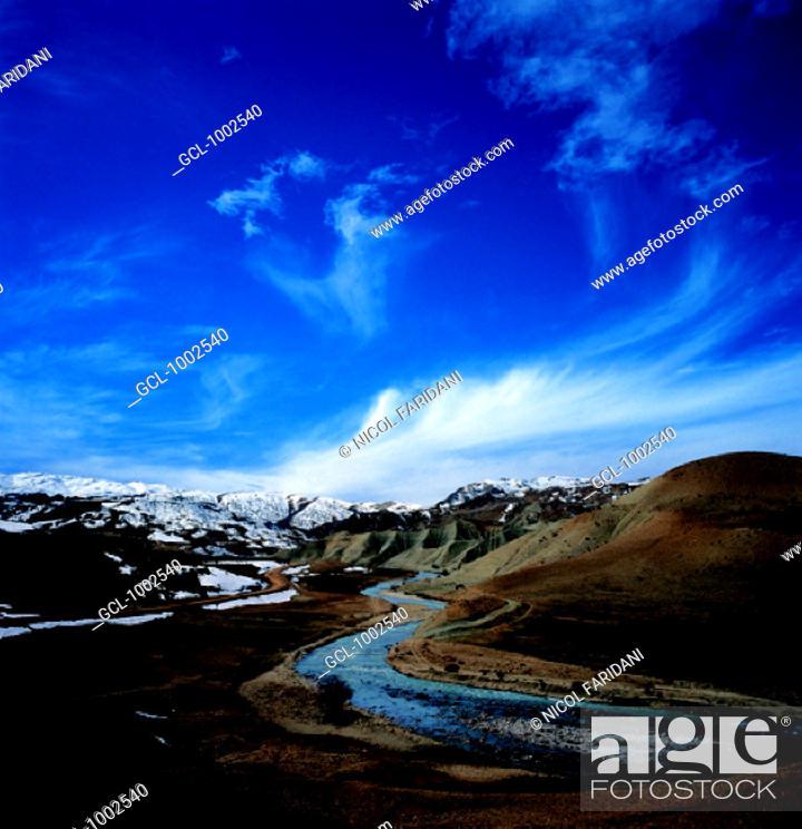 Stock Photo: River through snow-covered mountains, Iran.