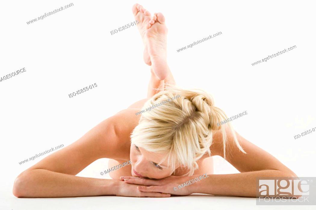 Stock Photo: Nude woman lying down.