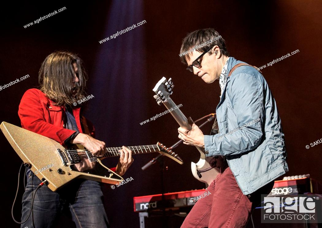 Stock Photo: Weezer performing at Manchester O2 Apollo Featuring: Weezer, Rivers Cuomo, Brian Bell Where: Manchester, United Kingdom When: 25 Oct 2017 Credit: Sakura/WENN.
