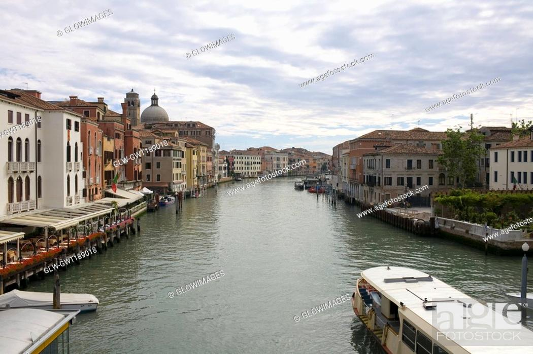 Stock Photo: Buildings at the waterfront, Venice, Italy.