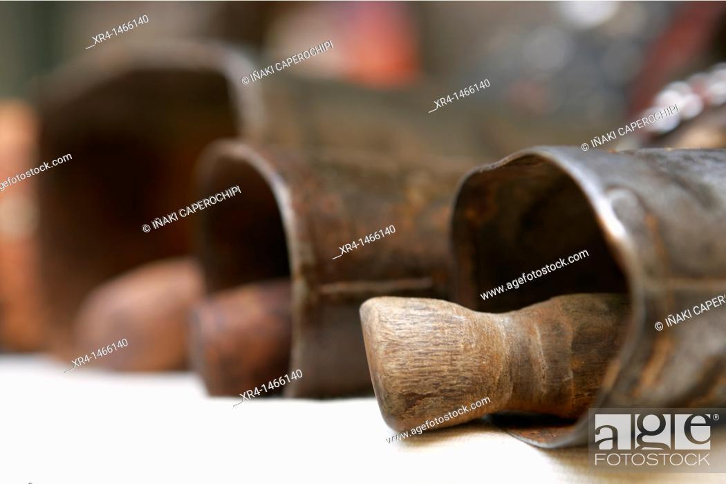 Stock Photo: Old tools, medieval fair, Hondarribia, Guipuzcoa, Basque Country, Spain.