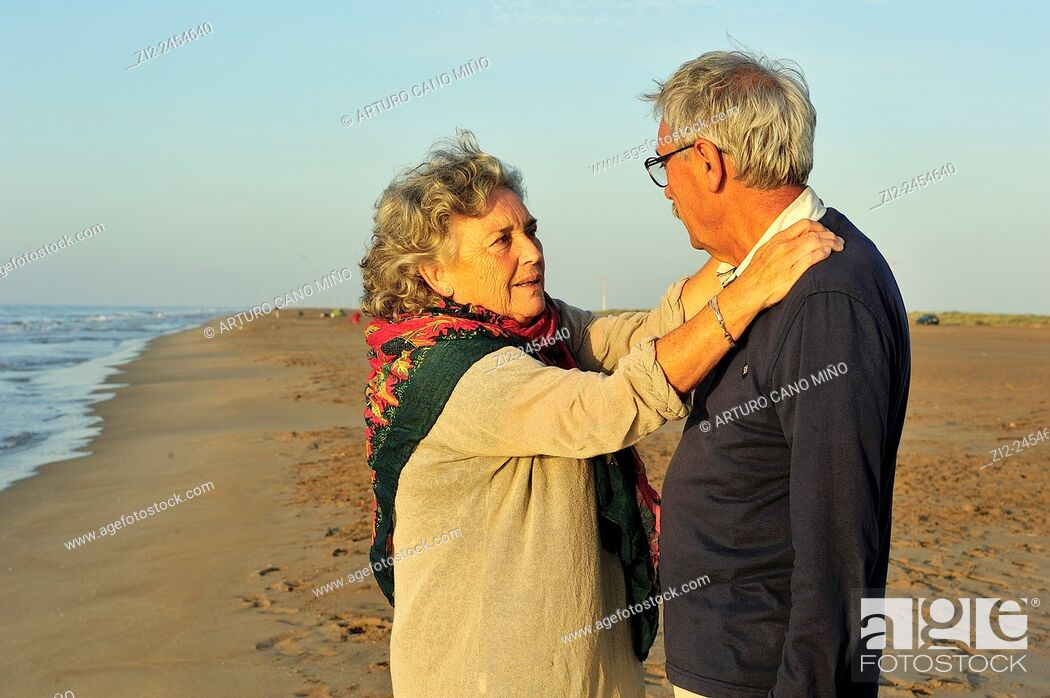 Stock Photo: A couple on the beach. Ebro Delta Natural Park. Tarragona, Spain.