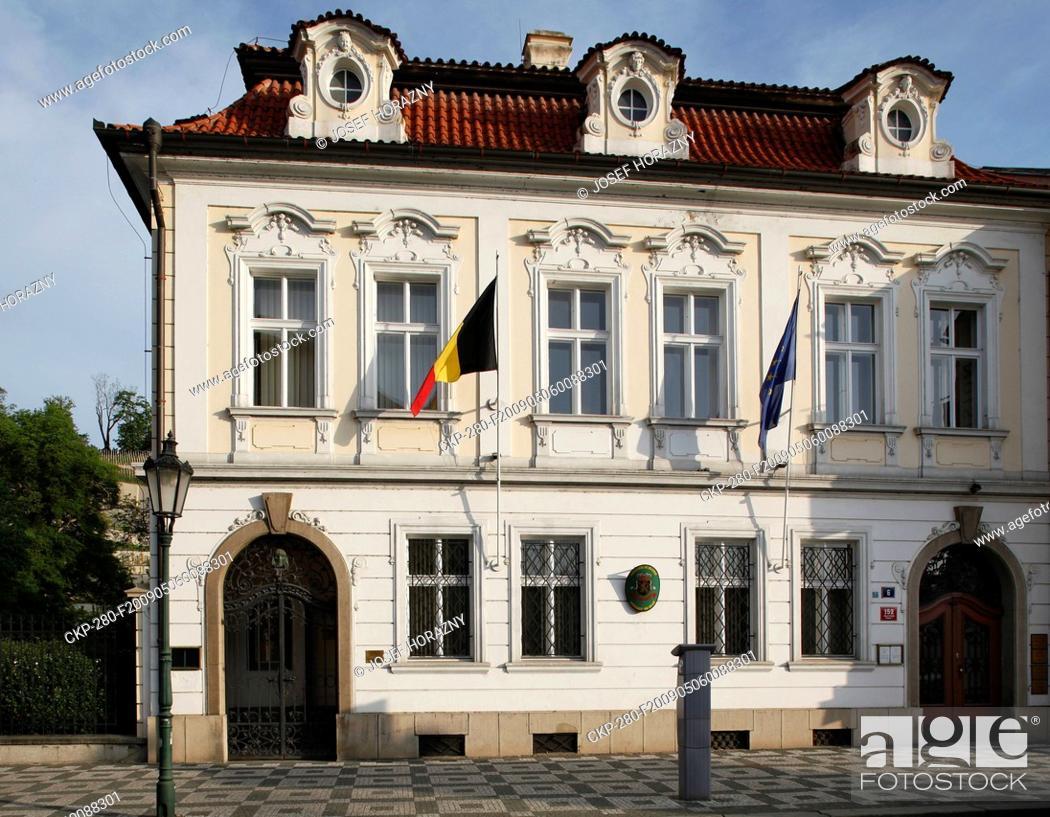 Stock Photo: Prague, Belgian Embassy at Valdstejn Street, Eu flag, Belgian flag, late Baroque architecture CTK Photo/Josef Horazny.