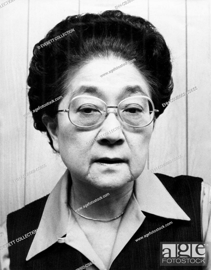 Stock Photo: Iva Toguri D'Aquino in 1976, when Japanese-American group sought her Presidential Pardon. She was convicted for treason in 1949 making English language.