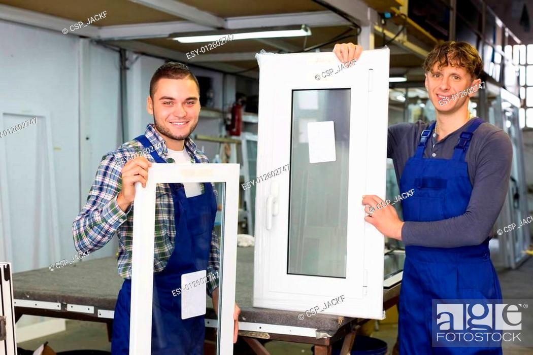 Stock Photo: PVC profiles and windows production at modern factory.
