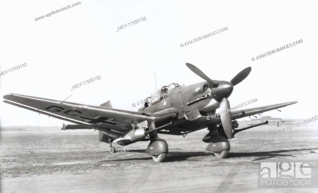 Junkers Ju-87G Stuka Parked with Anti-Tank Gun, Stock Photo