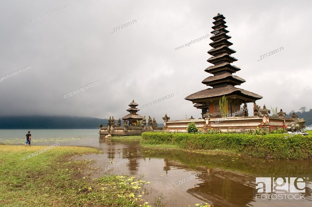 Stock Photo: Bali Temple On A Lake Pura Ulun Danu Bratan Indonesia. Pura Ulan Danu Bratan Temple in Bedugul. It was built in 1633 by the King of Mengwi in honor of the deity.