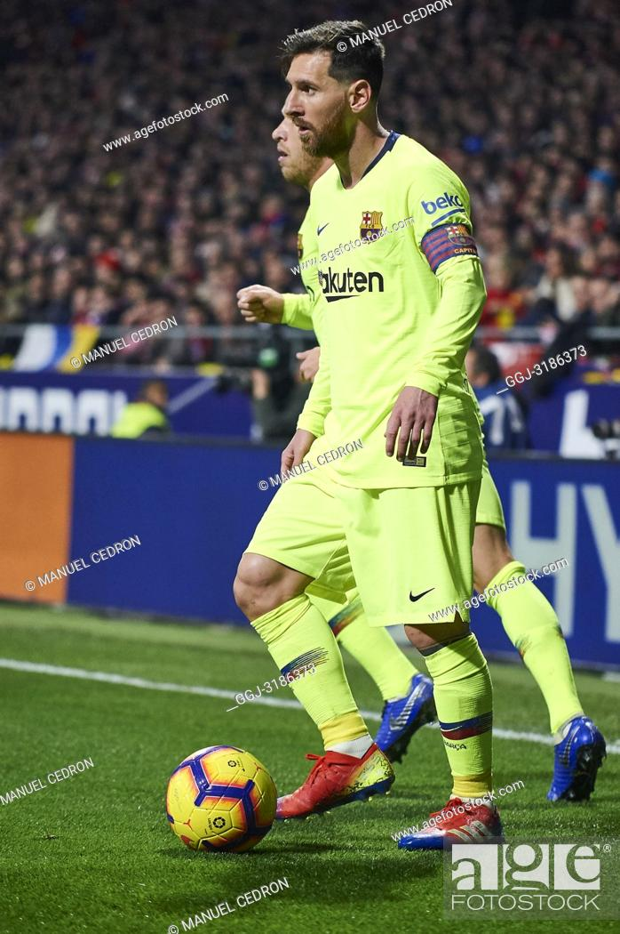 Stock Photo: Lionel Messi (forward; Barcelona) before La Liga match between Atletico de Madrid and F.C. Barcelona at Wanda Metropolitano on November 24, 2018 in Madrid.